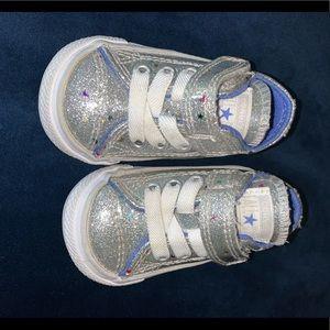 silver glitter infant converse
